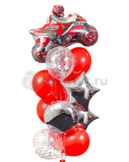 Композиция шаров с красным мотоциклом
