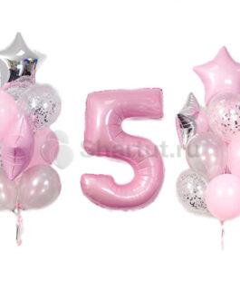 Композиция из шаров с розовой цифрой и звездами