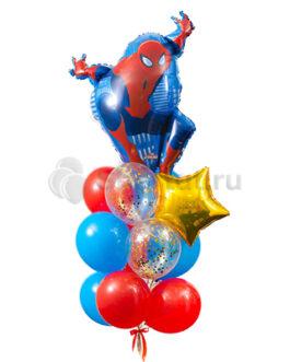 Композиция из шаров с Человеком Пауком