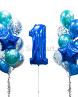 Композиция из шаров с синей цифрой и хромированными шарами