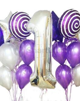 Композиция из шаров с серебряной цифрой и круглыми шарами «Спираль»