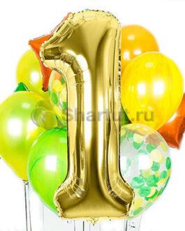 Композиция из шаров с золотой цифрой и шарами конфетти