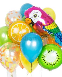 Композиция из шаров Попугай с фруктами