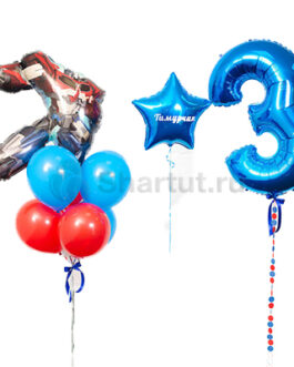 Композиция из шаров с цифрой и Оптимусом Праймом