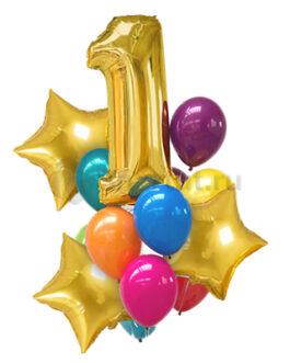 Композиция из шаров с золотой цифрой и звездами