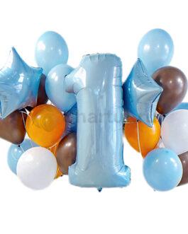 Композиция из шаров с голубой цифрой