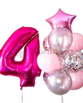 Композиция из шаров с розовой цифрой и звездой