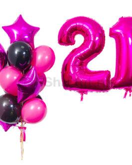 Композиция из шаров с розовыми цифрами