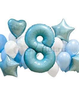 Композиция из шаров с светло-голубой цифрой