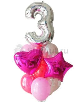 Композиция из шаров с серебряной цифрой и фольгированными шарами цвета фуше