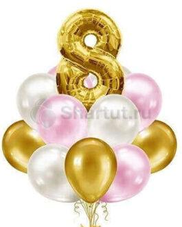 Композиция из шаров с золотой цифрой