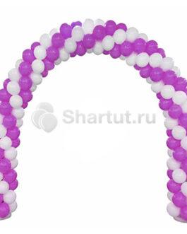 Арка из белых и фиолетовых шаров 1 м