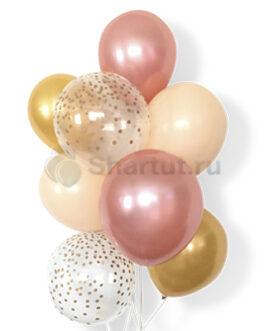 Облако из нежно розовых шариков с конфетти 20 шт