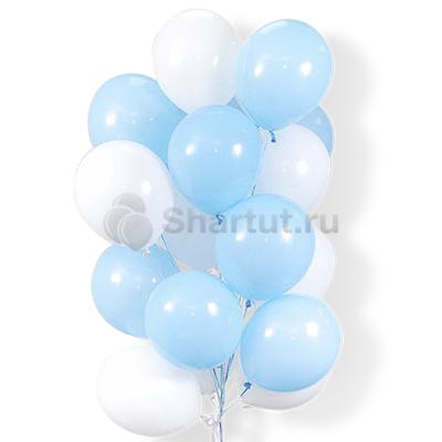 Облако воздушных бело-голубых шариков 25 шт