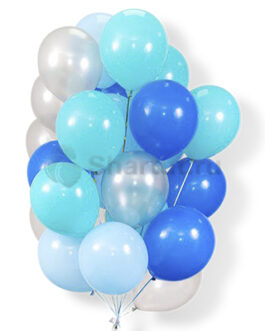 Облако воздушных серо-голубых шариков 25 шт