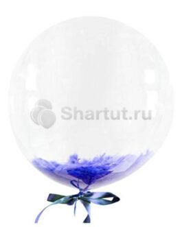 Кристальный шар Bubbles с фиолетовыми перьями