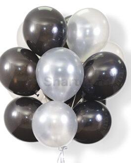 Облако воздушных бело-черных шариков 20 шт