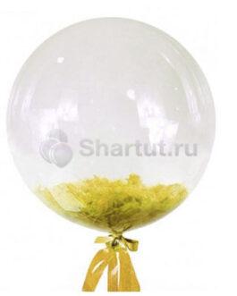 Кристальный шар Bubbles с желтыми перьями