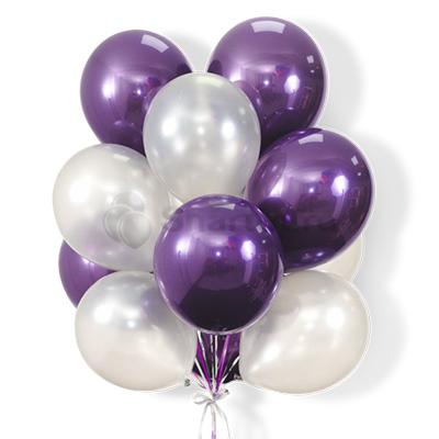 Облако бело-фиолетовых шариков 25 шт