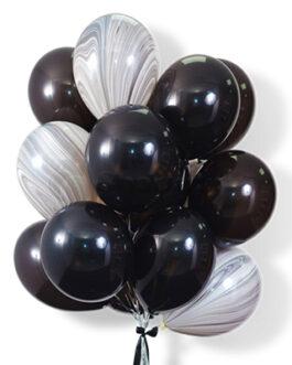 Облако черных шаров с шарами агат 25 шт