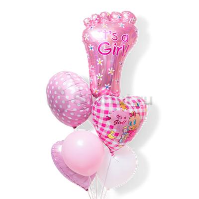 Композиция из шаров со стопой для девочки