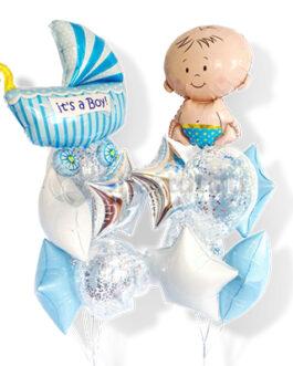 Большая композиция из шаров на выписку мальчика