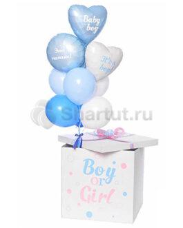 Коробка с шарами на выписку из роддома