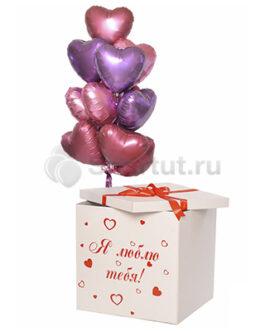 Коробка с шарами Красные сердца