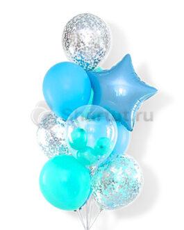 Голубое облако шаров для мальчика