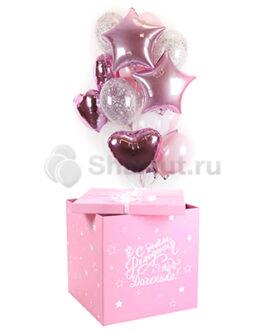 Композиция из воздушных шаров в коробке бело-розовых