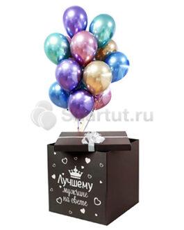 Разноцветные хромированные шарики в черной коробке