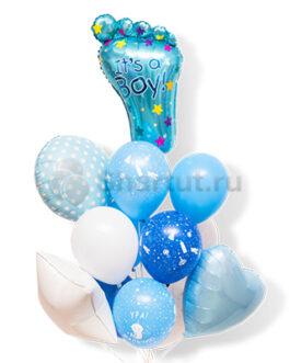 Композиция из шариков голубого цвета со стопой