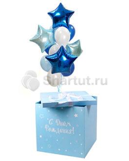 Бело-голубые и синие шары в голубой коробке