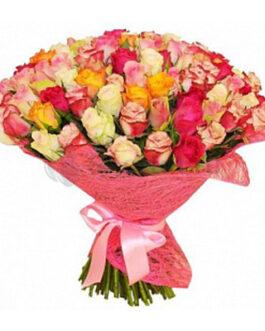 101 разноцветная кенийская роза 40 см