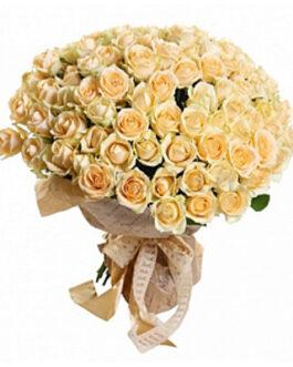 101 кремовая роза 60 см