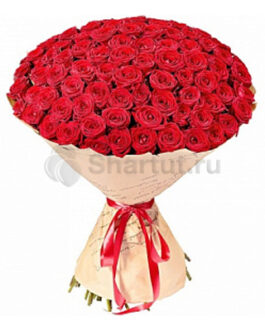 101 красная классическая роза 60 см