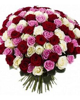 101 разноцветная роза 60 см