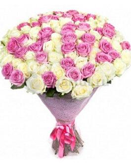 101 белая и розовая роза 60 см