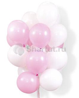 Облако воздушных бело-розовых нежных шаров 25 шт