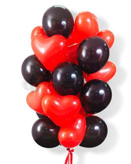 Облако черно-красных шаров с сердцами 30 шт