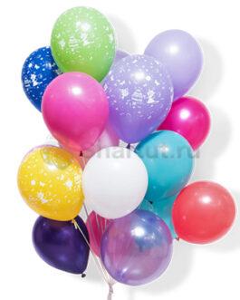 Облако латексных разноцветных шаров с рисунком 25 шт