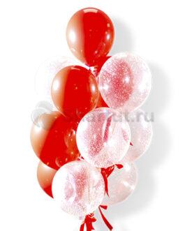 Облако красных и прозрачных шаров с кофетти 15 шт