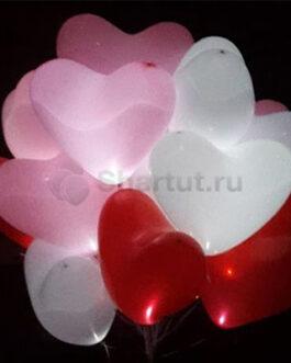 Светящиеся шары сердце с диодами «Ассорти» 25 шаров
