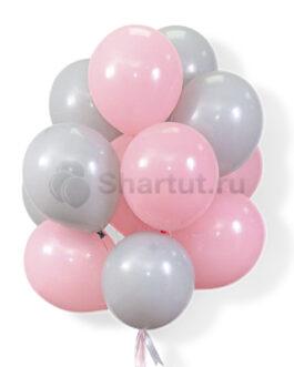 Облако воздушных серо-розовых шариков 25 шт