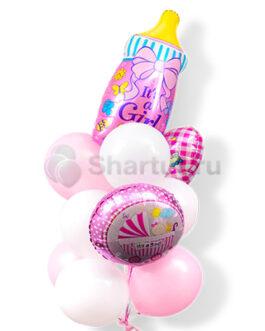 Композиция шаров для выписки девочки с соской