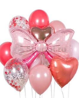 Композиция из шаров с бантом для девочки