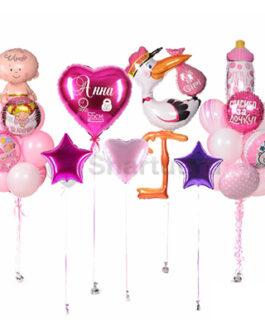 Готовое решение розовый набор на выписку девочки