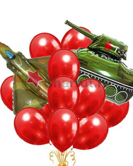Красное облако с истребителем и танком