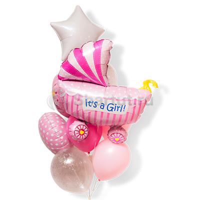 Композиция шаров с коляской для девочки