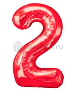 Шар цифра 2 красная